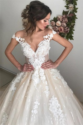 Applique Off-the-Shoulder Wedding Dresses UK Sequins Backless Sleeveless Floral Bridal Gowns_4