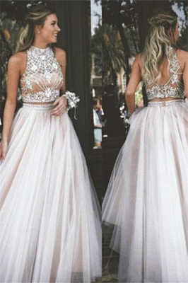 High Neck Two Pieces Prom Dress UKes UK Sleeveless Open back Crystal Elegant Evening Gowns_1