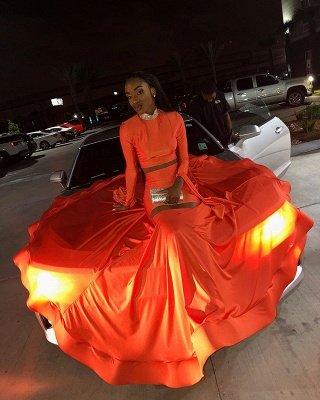 Elegant Orange Long-Sleeves High-Neck Elegant Trumpt Long Prom Dress UK_5