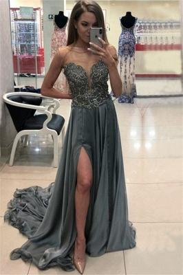 Sexy Jewel Applique Ruffles Prom Dress UKes UK Sleeveless Side Slit Elegant Evening Dress UKes UK with Beads_1