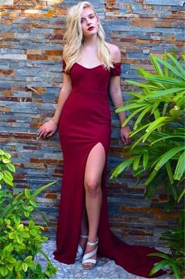 Burgundy Off-the-Shoulder Prom Dress UKes UK Side Slit Mermaid Sleeveless Elegant Evening Dress UKes UK_1
