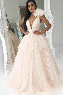 Ruffles Elegant V-Neck Bowknot Prom Dress UKes UK Sexy Tiered Sleeveless Evening Dress UKes UK_1