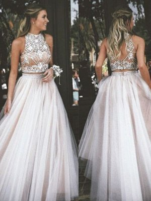 High Neck Two Pieces Prom Dress UKes UK Sleeveless Open back Crystal Elegant Evening Gowns_2