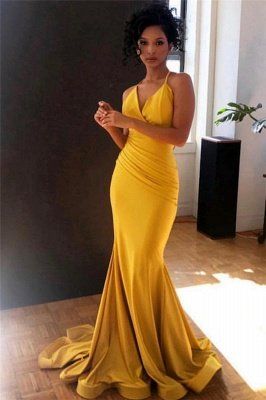 Sexy Yellow Spaghetti-Straps Alluring V-Neck Ruffle Elegant Mermaid Evening Dress UK UK_1