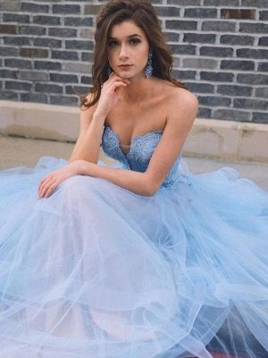 Sexy Sheer Sweetheart Lace Appliques Prom Dress UKes UK Tiered Sleeveless Evening Dress UKes UK_2