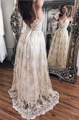 Lace Appliques Elegant V-Neck Prom Dress UKes UK Tiered Backless Sleeveless Evening Dress UKes UK_3
