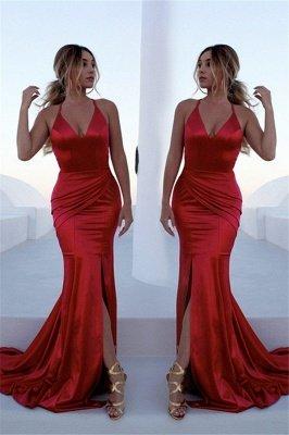 Sexy Red Halter Lace Up Prom Dress UKes UK Sleeveless Ruffles Mermaid Side Slit Elegant Evening Dress UKes UK_1