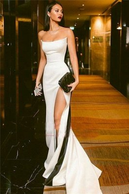 Elegant Strapless Side Slit Evening Dress UKes UK Sexy Online | Black White Sleeveless Sexy Formal Party Dress UK_1