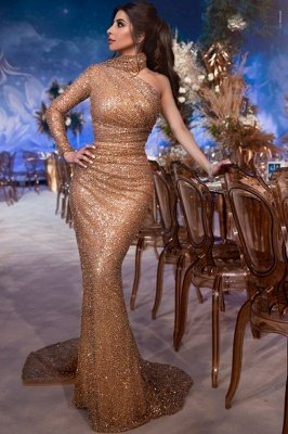 Gorgeous Hign-Neck Asymmetric Sequins Elegant Mermaid Evening Dress UK UK_1