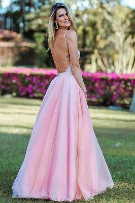 Crystal Spaghetti-Strap Lace Appliques Prom Dress UKes UK Side slit Backless Sleeveless Evening Dress UKes UK_2