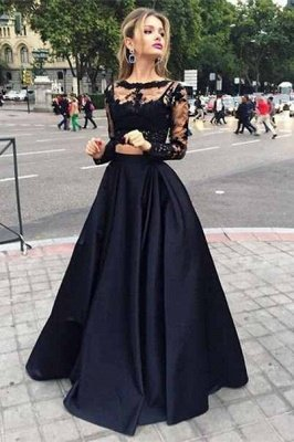 Elegant Black Lace Long Sleeve Prom Dress UK Two Pieces Long Evening Gown_1