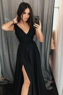 Black Elegant V-Neck Prom Dress UKes UK Side slit Sleeveless Evening Dress UKes UK_2