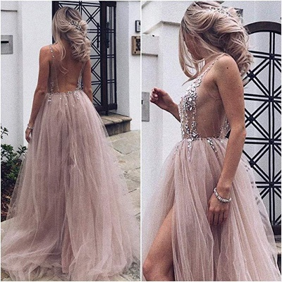 Pink Elegant V-Neck Lace Appliques Crystal Prom Dress UKes UK Sheer Side slit Backless Sleeveless Evening Dress UKes UK_2