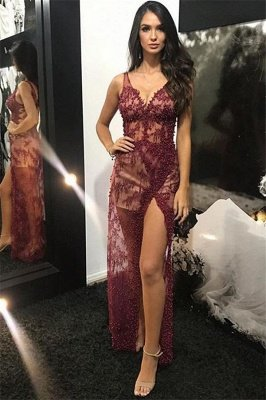 Trendy Burgundy Maroon Straps Alluring V-Neck Lace Beading Side-Split Tulle Detachable A-Line Evening Dress UK UK_2