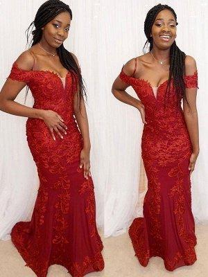 Red Off-the-Shoulder Applique Prom Dress UKes UK Mermaid Sleeveless Elegant Evening Dress UKes UK_2