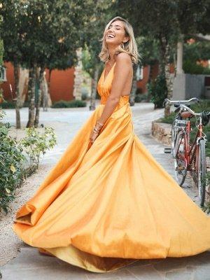 Simple Orange Spaghetti-Straps without Sleeve Alluring V-Neck A-Line Prom Dress UK UK_3
