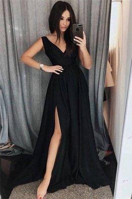 Black Elegant V-Neck Prom Dress UKes UK Side slit Sleeveless Evening Dress UKes UK_1