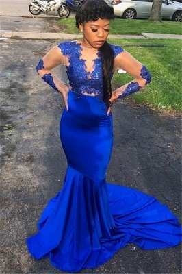 Royal Blue with Sleeves Lace Appliques Sheer Tulle Elegant Mermaid Evening Dress UK UK_1