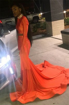 Elegant Orange Long-Sleeves High-Neck Elegant Trumpt Long Prom Dress UK_3