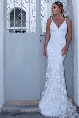 Sexy Spaghetti-Strap Lace Appliques Prom Dress UKes UK Side slit Lace-Up Mermaid Sleeveless Evening Dress UKes UK_1