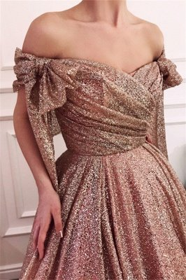 Simple Off-The-Shoulder Sequins A-Line Evening Dress UK_1