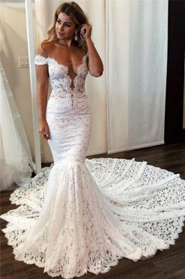Lace Off-the-Shoulder Wedding Dresses UK Sexy Mermaid Sleeveless Floral Bridal Gowns