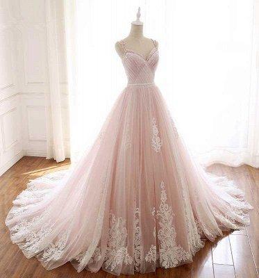Sexy Spaghetti-Strap Flower Lace Appliques Prom Dress UKes UK Ball Gown Ruffle Crystal Sleeveless Evening Dress UKes UK_3