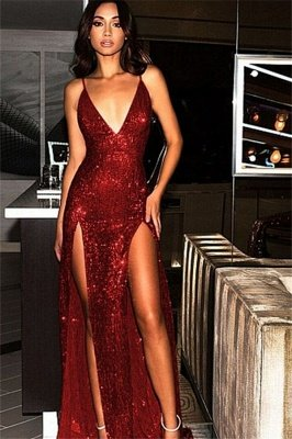 Spaghetti Strap Open Back Prom Dress UKes UK Sleeveless Side Slit Elegant Evening Dress UKes UK_1