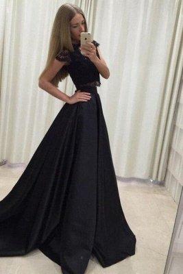 Lace Appliques Jewel Prom Dress UKes UK Two Piece Ruffles Sleeveless Evening Dress UKes UK_4