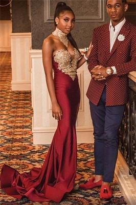 Trendy Burgundy Maroon High-Neck Lace Appliques Elegant Mermaid Prom Dress UK UK_1