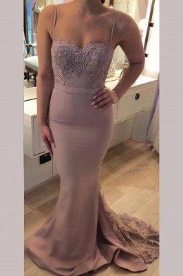Sexy Crystal Spaghetti-Strap Lace Appliques Prom Dress UKes UK Mermaid Sleeveless Evening Dress UKes UK with Beads_1