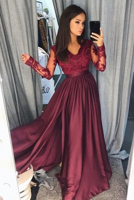 Lace Appliques Elegant V-Neck Prom Dress UKes UK Side slit Sleeveless Evening Dress UKes UK with Beads_3