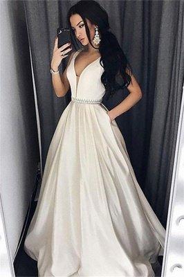 Sexy Elegant V-Neck Sash Prom Dress UKes UK Sleeveless Evening Dress UKes UK with Pocket_1