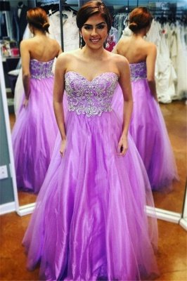 Sexy Sweetheart Lace Appliques Prom Dress UKes UK Purple Open Back Evening Dress UKes UK with Beads_1