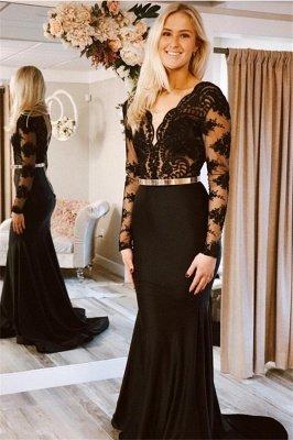 Sexy Timeless black Long Sleeves Lace Applique Long Elegant Trumpt Prom Dress UKes UK UK_1