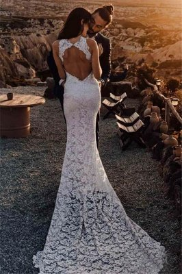 Appliques Halter Backless  Sexy Mermaid Wedding Dresses UK | Ribbons Side slit Sleeveless Floral Bridal Gowns_2