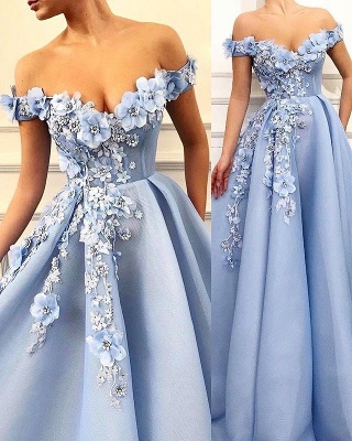 Simple Off-The-Shoulder Flower Lace Appliques without Sleeve A-Line Prom Dress UK_1