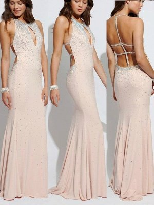 Sexy Lace Up Halter Beads Prom Dress UKes UK Mermaid  Keyhole Evening Dress UKes UK Sexy_2