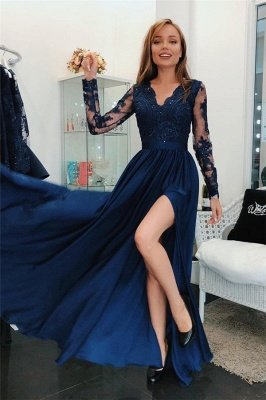 Lace Appliques Elegant V-Neck Prom Dress UKes UK Side slit Sleeveless Evening Dress UKes UK with Beads_1