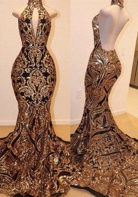 Halter Keyhole Neckline Sequins Appliqued Elegant Mermaid Prom Dress UK UKes UK_1