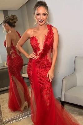 Trendy Burgundy Maroon Asymmetric Lace Applique Open back Elegant Mermaid Tullle Prom Dress UK UKes UK_1