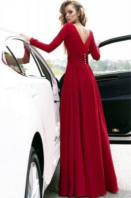 Red Long Sleeves Crystal Prom Dress UKes UK Open Back Side Slit Evening Dress UKes UK with Sash_2