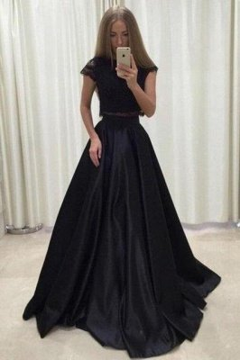 Lace Appliques Jewel Prom Dress UKes UK Two Piece Ruffles Sleeveless Evening Dress UKes UK_3
