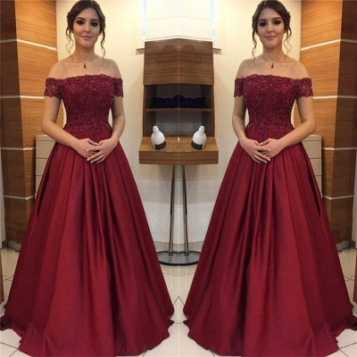 Burgundy Off-the-Shoulder Lace Appliques Prom Dress UKes UK Beads Ruffles Sleeveless Evening Dress UKes UK_2