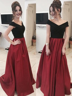 Black Off-the-Shoulder  Prom Dress UKes UK Applique Ruffles Mermaid Elegant Evening Dress UKes UK_1