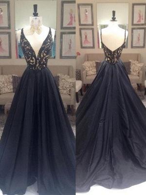 Black Lace Elegant V-Neck Sleeveless Prom Dress UKes UK Open Back Evening Dress UKes UK with Beads_3