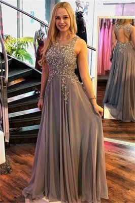 Sexy Jewel Crystal Sleeveless Prom Dress UKes UK Ruffles Sexy Popular Evening Dress UKes UK_1