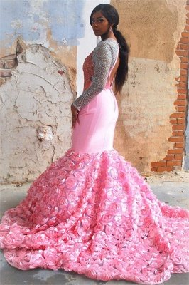 Simple Sweet Pink Floral Long-Sleeves Elegant Trumpt Backless Evening Gown_2