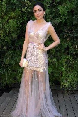 Sheer Sheer Straps Ribbons Crystal Prom Dress UKes UK Mermaid Sleeveless Evening Dress UKes UK with Beads_1