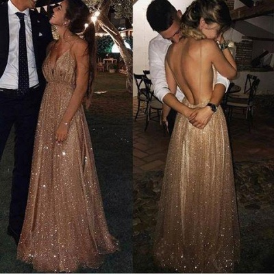 Squins Spaghetti-Strap Prom Dress UKes UK Backless Sleeveless Evening Dress UKes UK_4